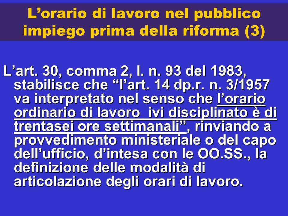 L'orario di lavoro nel pubblico impiego prima della riforma (3)