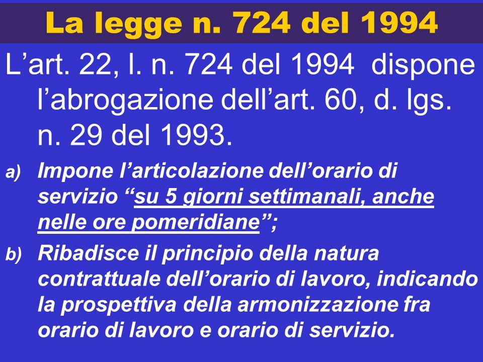 La legge n. 724 del 1994 L'art. 22, l. n. 724 del 1994 dispone l'abrogazione dell'art. 60, d. lgs. n. 29 del 1993.