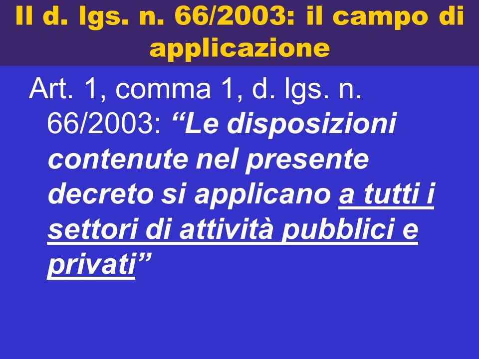Il d. lgs. n. 66/2003: il campo di applicazione