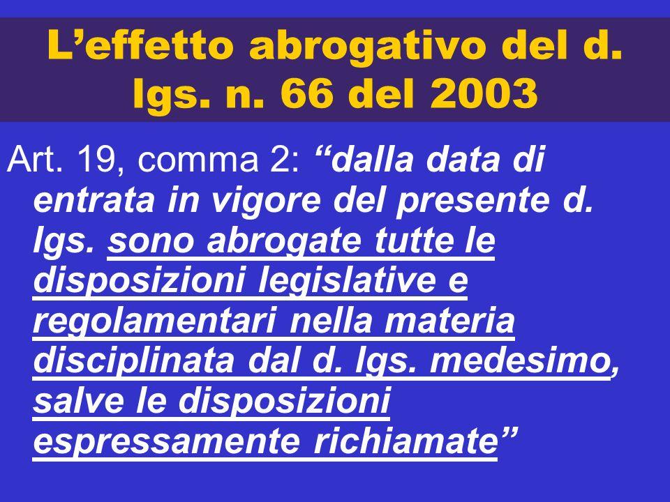 L'effetto abrogativo del d. lgs. n. 66 del 2003