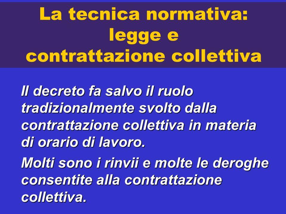 La tecnica normativa: legge e contrattazione collettiva