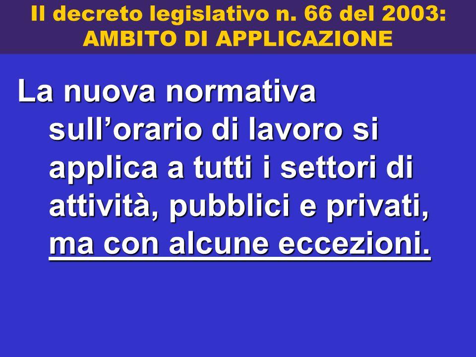 Il decreto legislativo n. 66 del 2003: AMBITO DI APPLICAZIONE