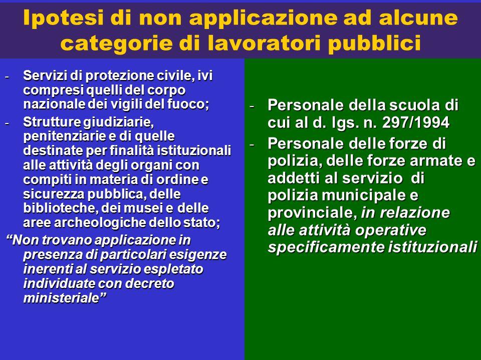 Ipotesi di non applicazione ad alcune categorie di lavoratori pubblici
