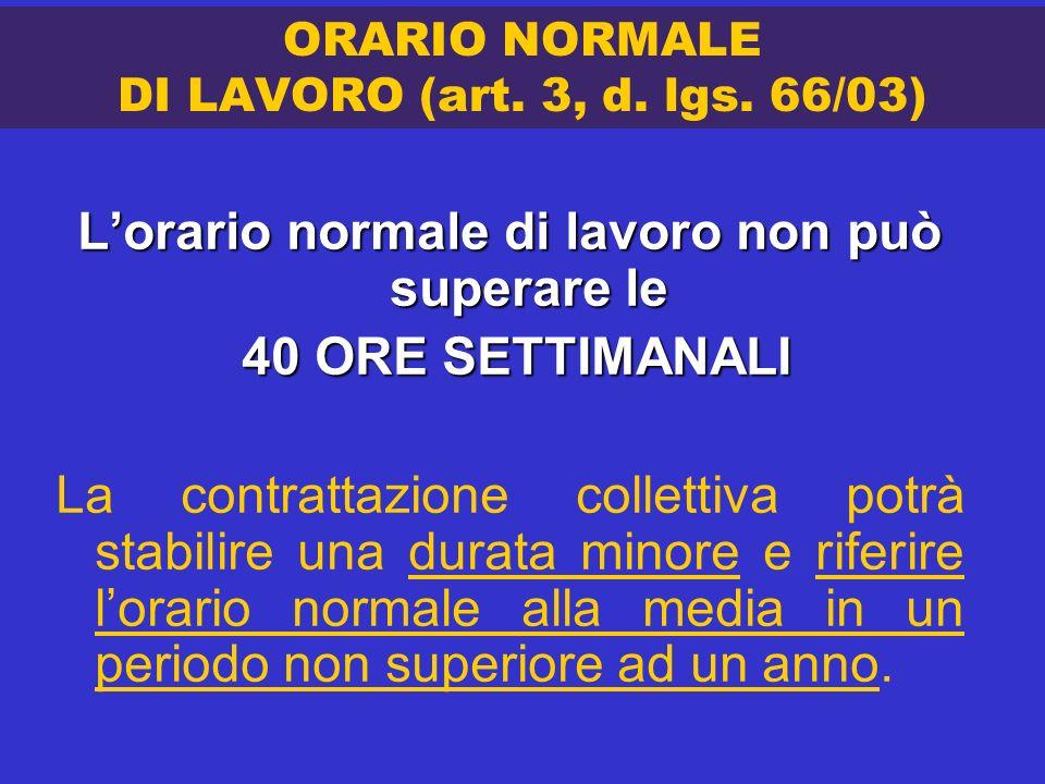 ORARIO NORMALE DI LAVORO (art. 3, d. lgs. 66/03)