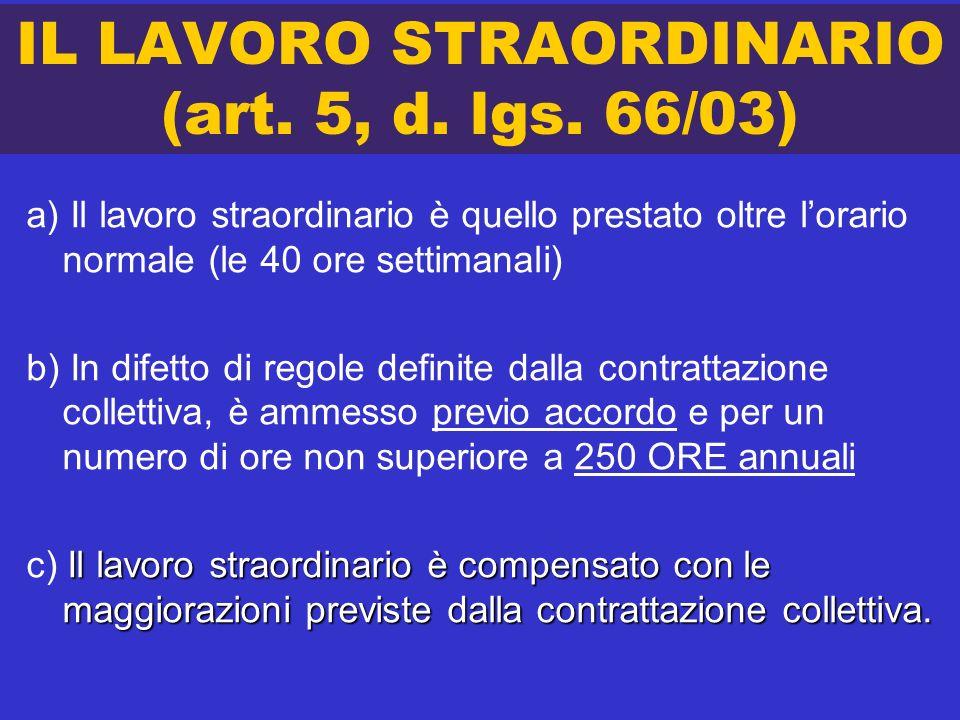 IL LAVORO STRAORDINARIO (art. 5, d. lgs. 66/03)