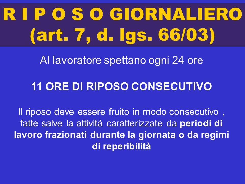 R I P O S O GIORNALIERO (art. 7, d. lgs. 66/03)