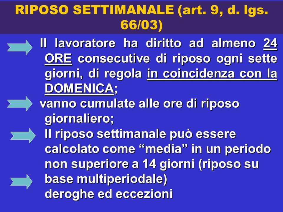 RIPOSO SETTIMANALE (art. 9, d. lgs. 66/03)