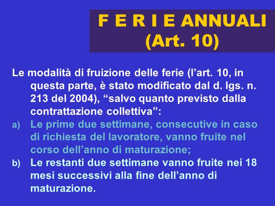 29 novembre 2004 F E R I E ANNUALI (Art. 10)
