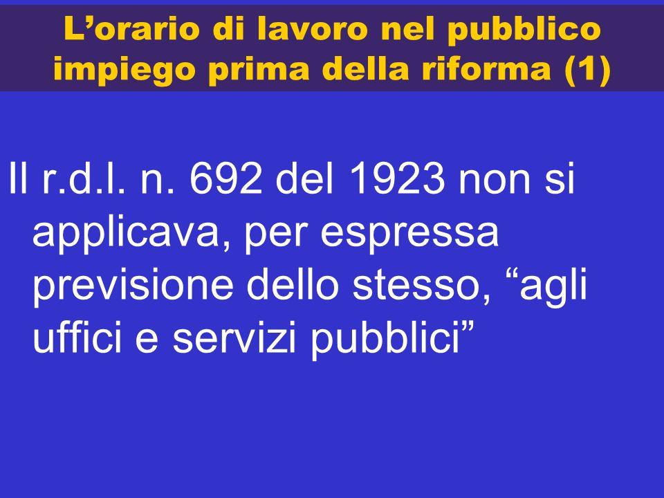 L'orario di lavoro nel pubblico impiego prima della riforma (1)