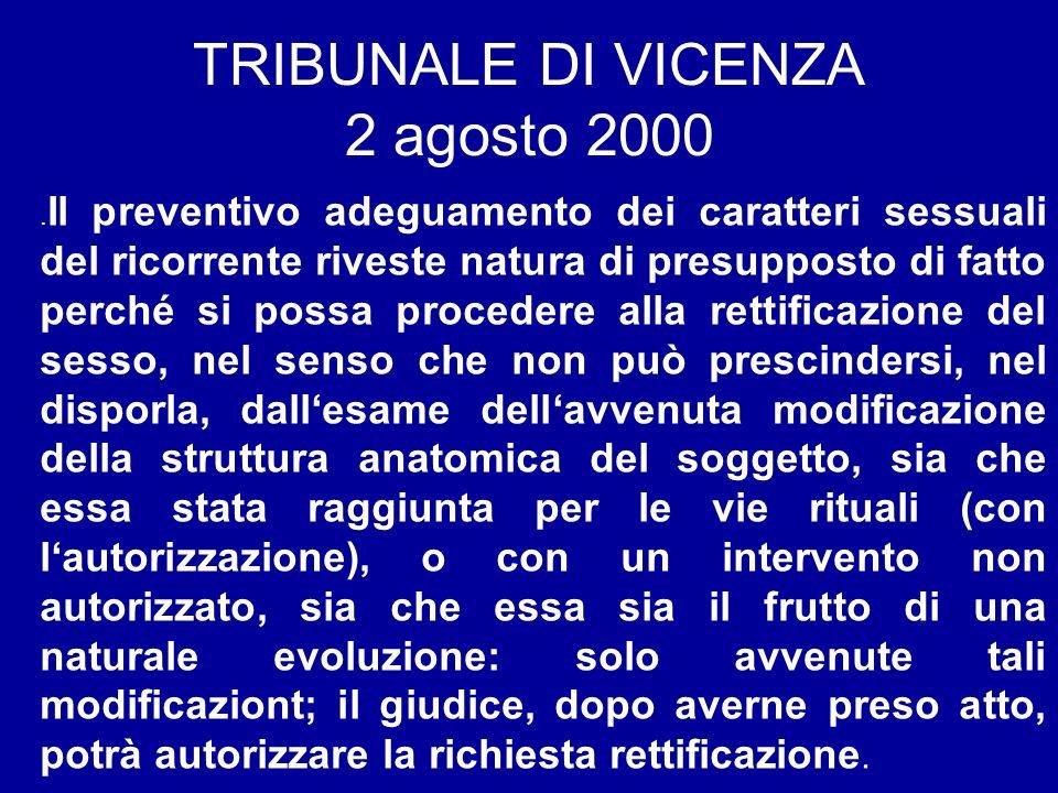 TRIBUNALE DI VICENZA 2 agosto 2000