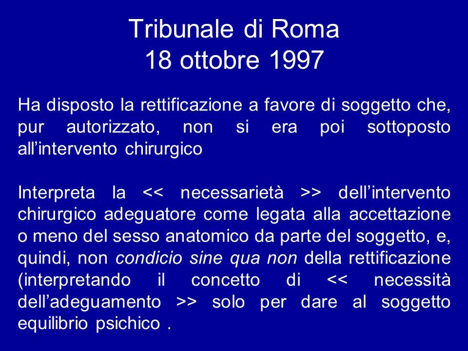 Tribunale di Roma 18 ottobre 1997