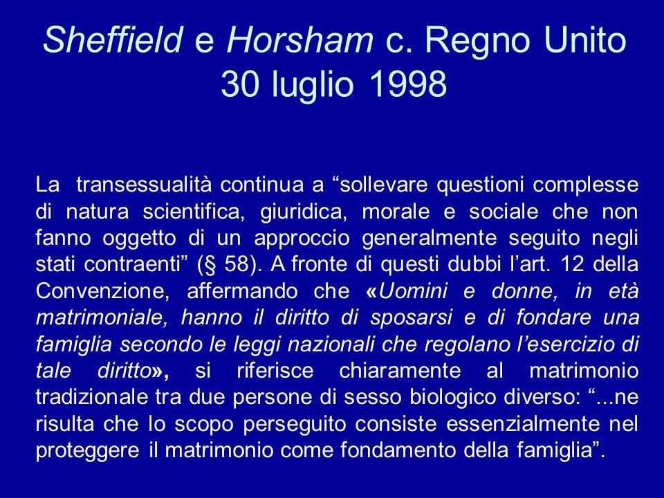 Sheffield e Horsham c. Regno Unito 30 luglio 1998