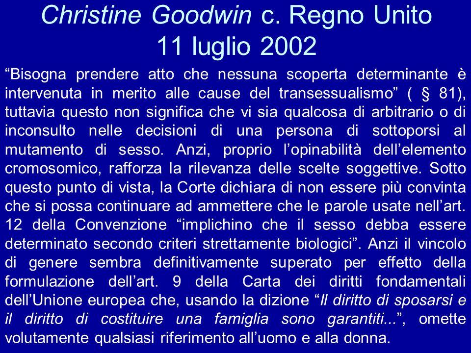 Christine Goodwin c. Regno Unito 11 luglio 2002