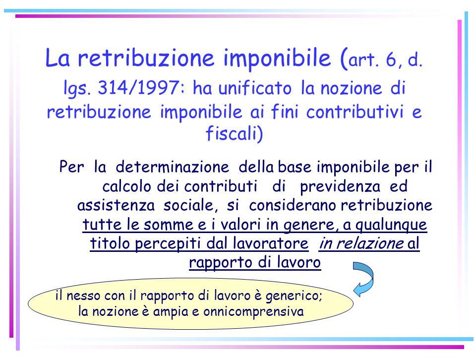 La retribuzione imponibile (art. 6, d. lgs