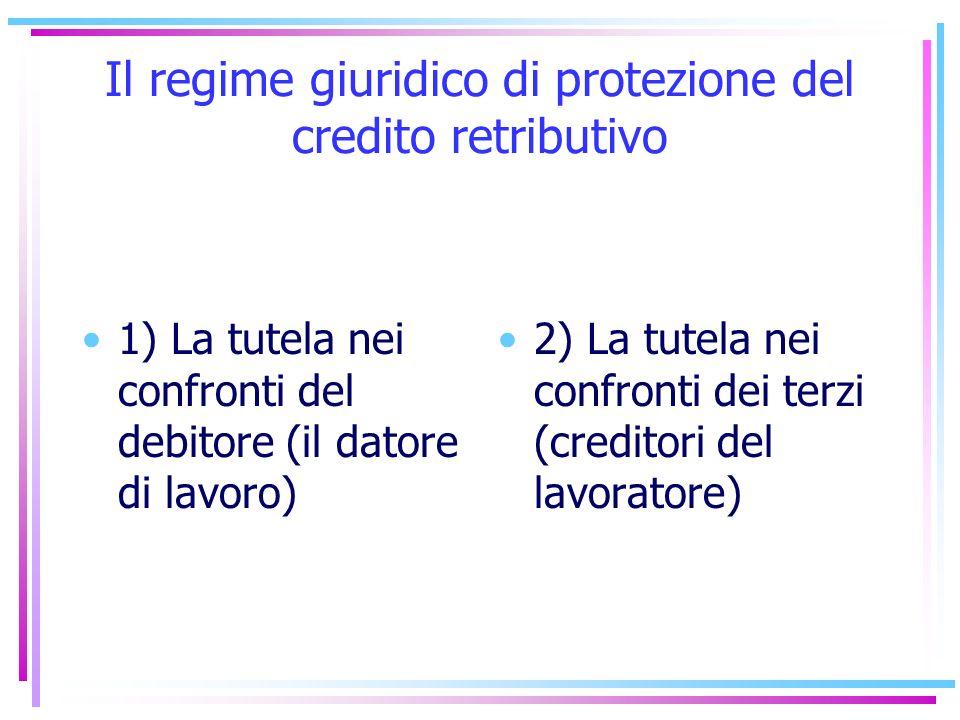Il regime giuridico di protezione del credito retributivo