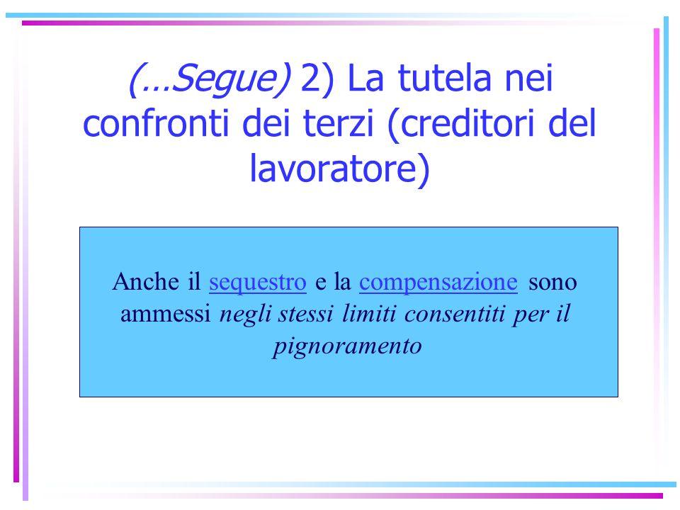 (…Segue) 2) La tutela nei confronti dei terzi (creditori del lavoratore)