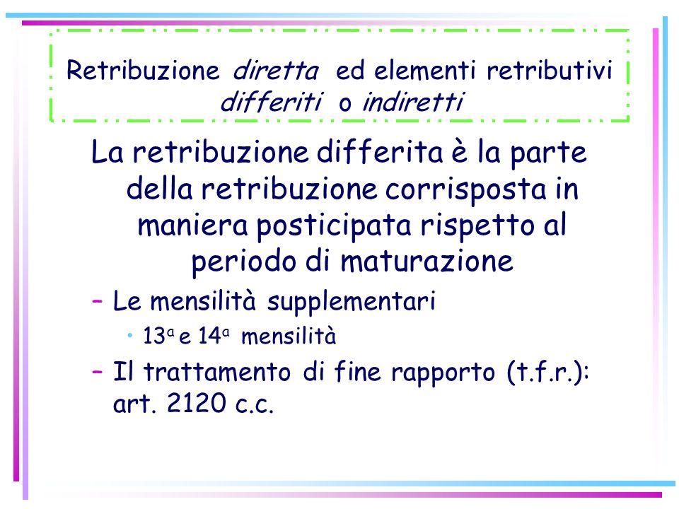 Retribuzione diretta ed elementi retributivi differiti o indiretti