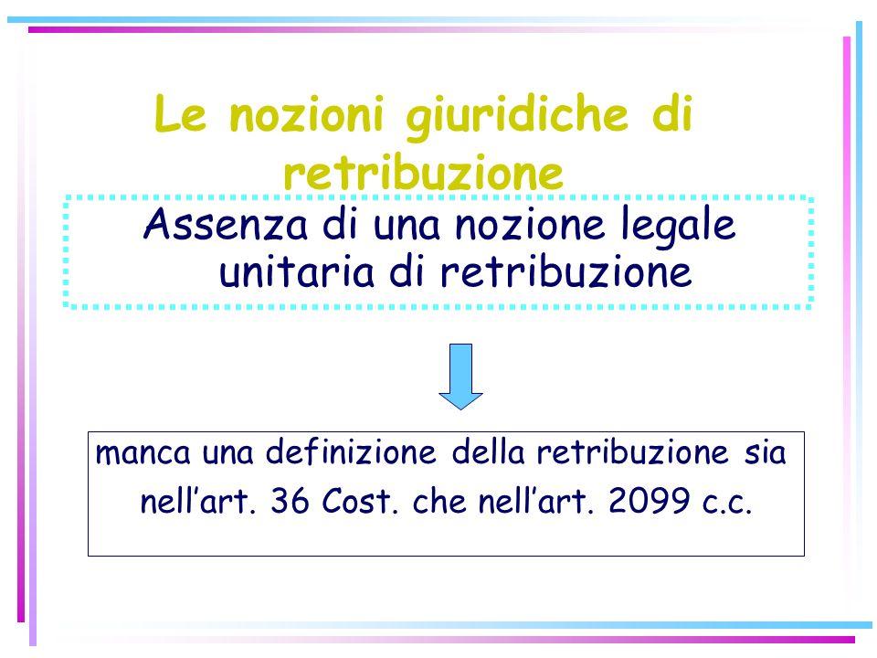 Le nozioni giuridiche di retribuzione