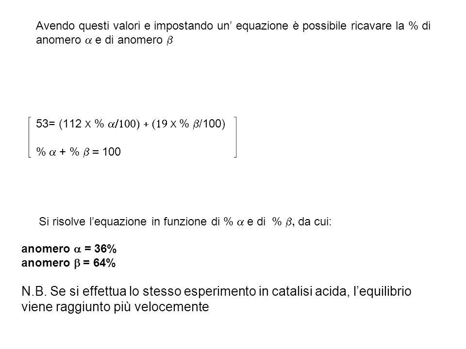 Avendo questi valori e impostando un' equazione è possibile ricavare la % di anomero a e di anomero b 53= (112 X % a/100) + (19 X % b/100) % a + % b = 100 Si risolve l'equazione in funzione di % a e di % b, da cui: