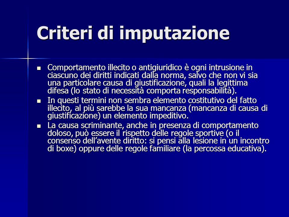 Criteri di imputazione
