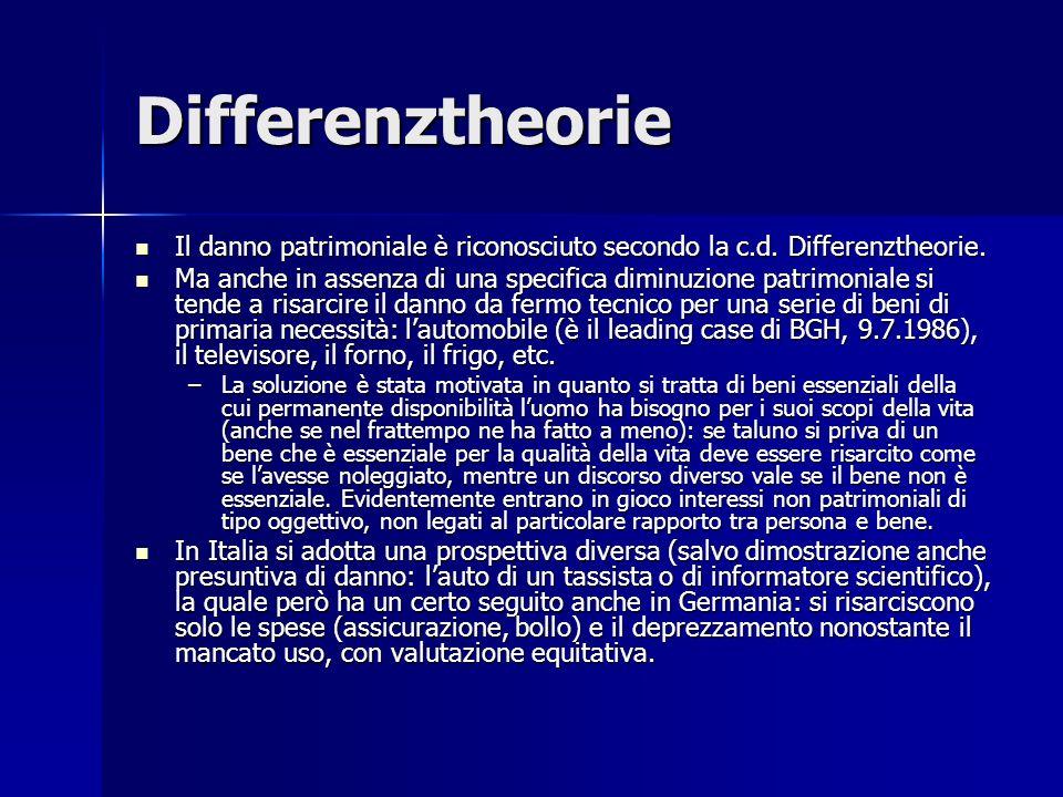Differenztheorie Il danno patrimoniale è riconosciuto secondo la c.d. Differenztheorie.