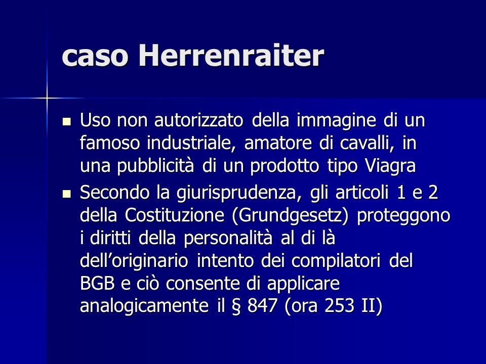 caso Herrenraiter Uso non autorizzato della immagine di un famoso industriale, amatore di cavalli, in una pubblicità di un prodotto tipo Viagra.