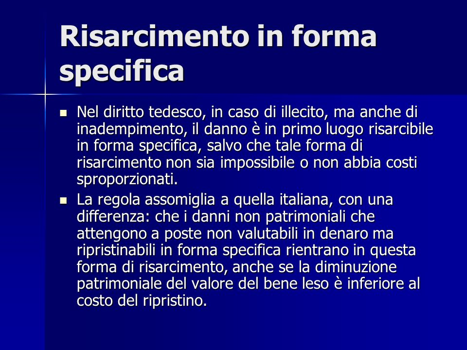 Risarcimento in forma specifica
