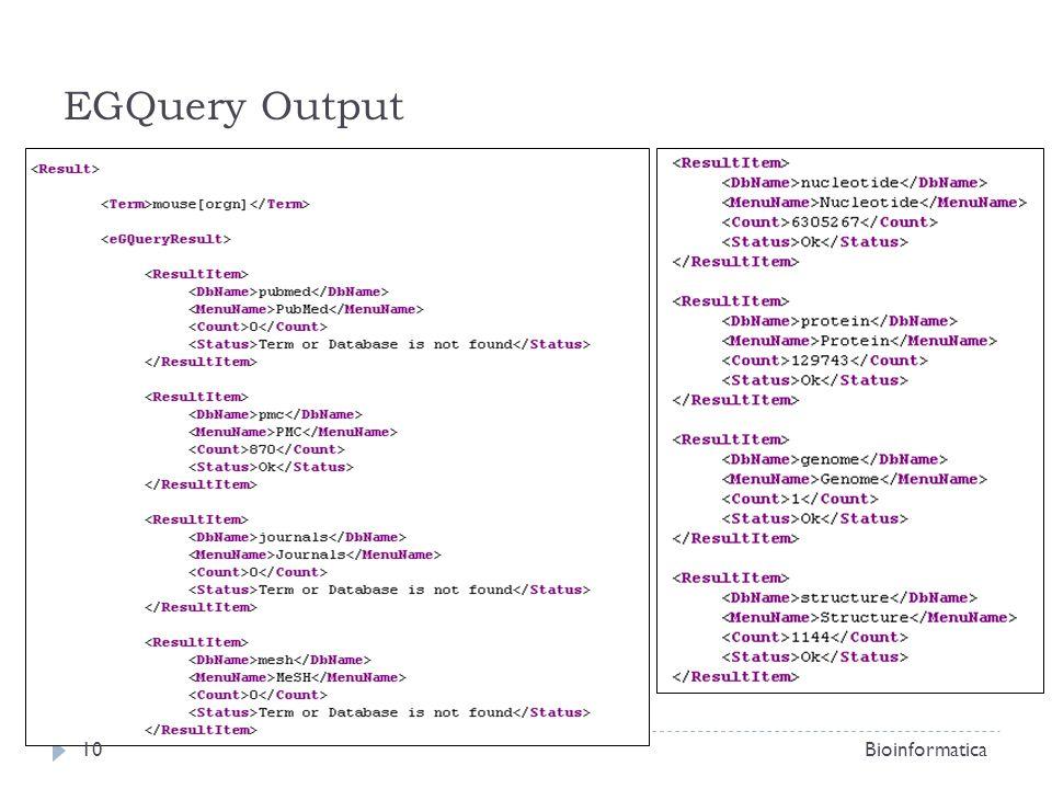 EGQuery Output Bioinformatica