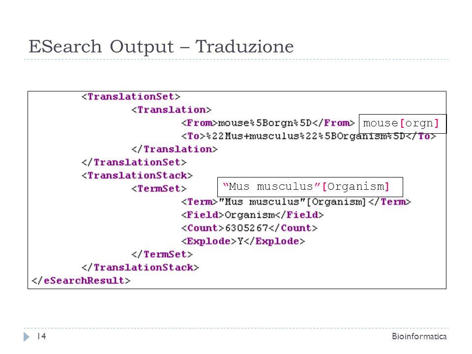ESearch Output – Traduzione