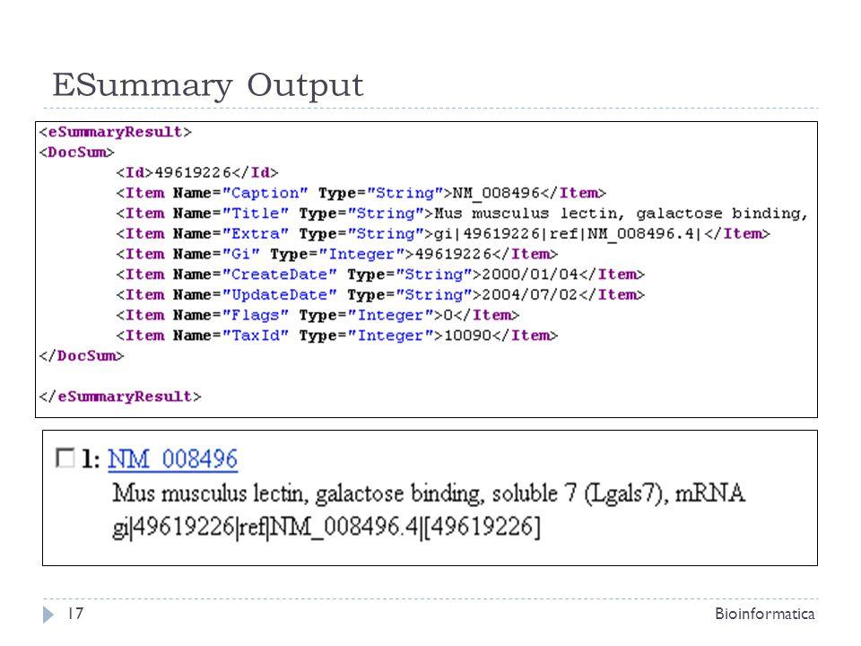 ESummary Output Bioinformatica