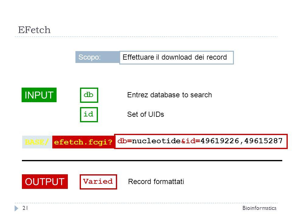 EFetch INPUT OUTPUT db id BASE/ efetch.fcgi