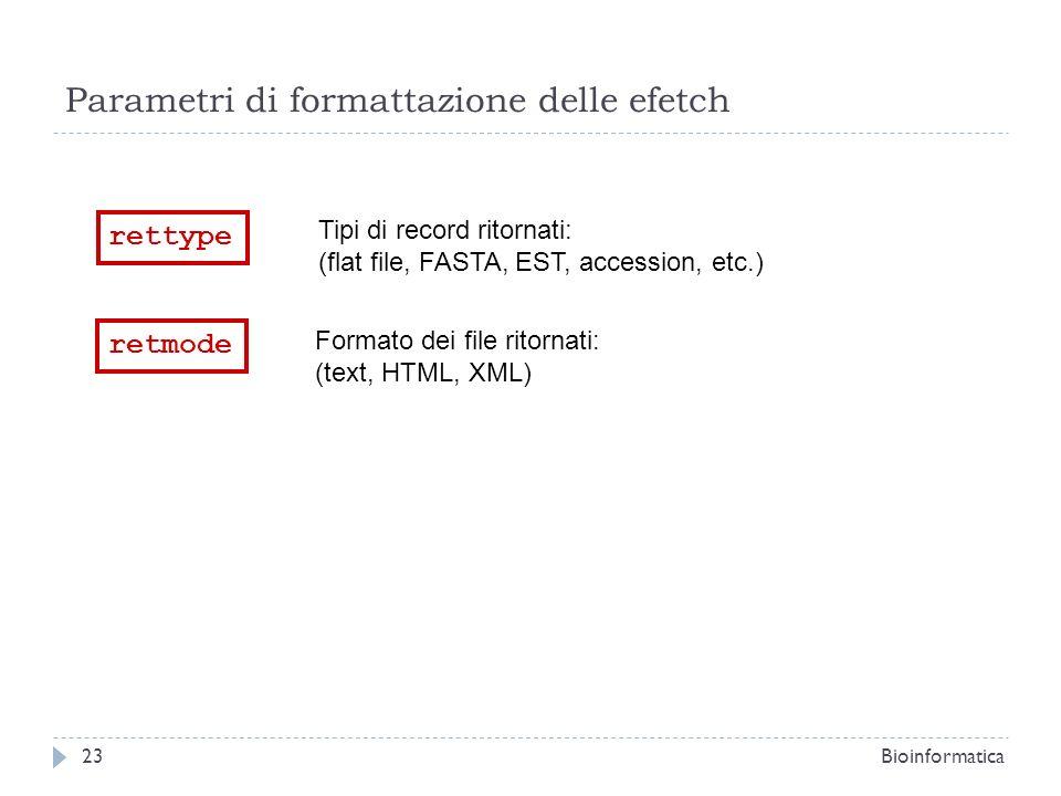 Parametri di formattazione delle efetch