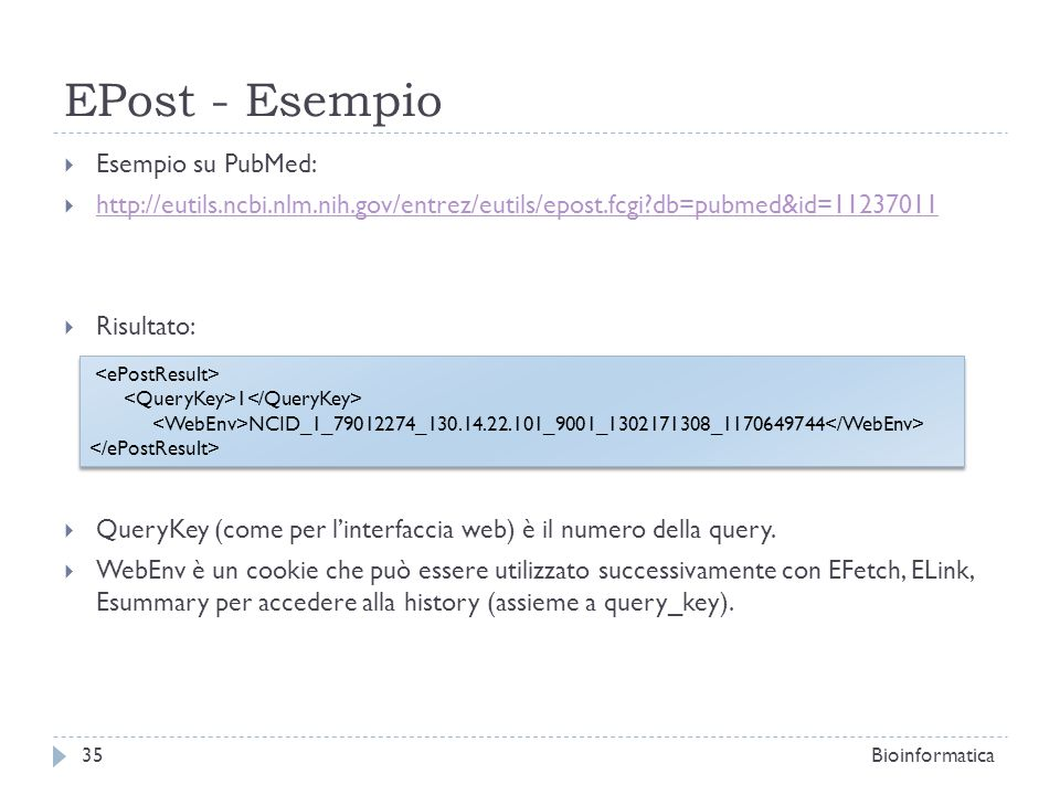 EPost - Esempio Esempio su PubMed: