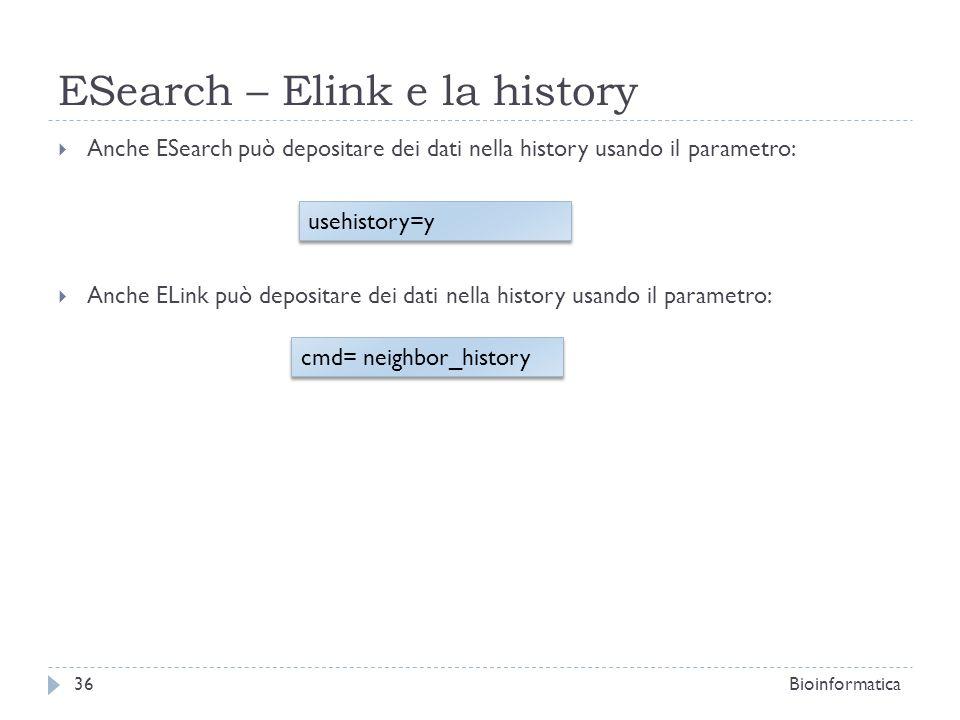 ESearch – Elink e la history