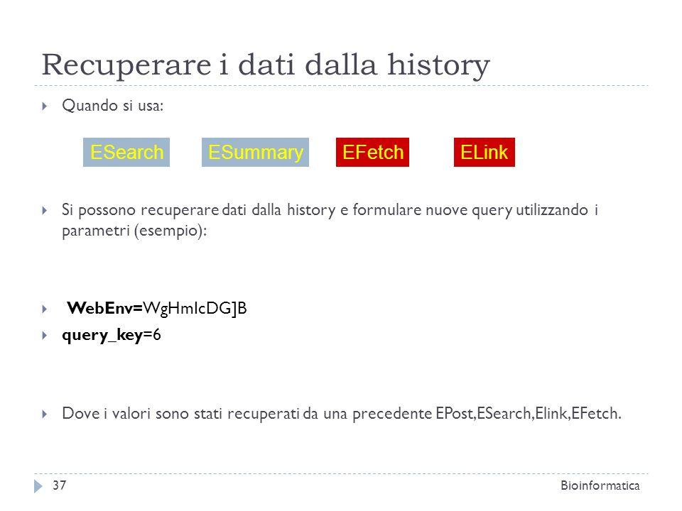 Recuperare i dati dalla history
