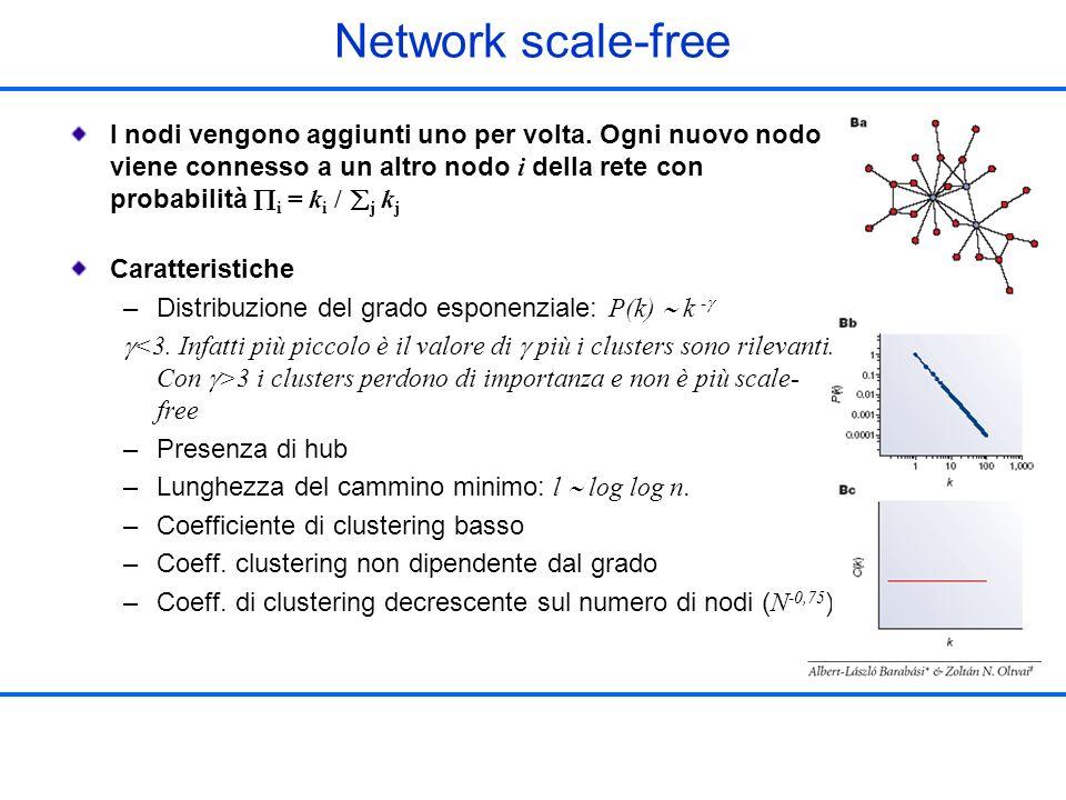 Network scale-free I nodi vengono aggiunti uno per volta. Ogni nuovo nodo viene connesso a un altro nodo i della rete con probabilità i = ki /j kj.