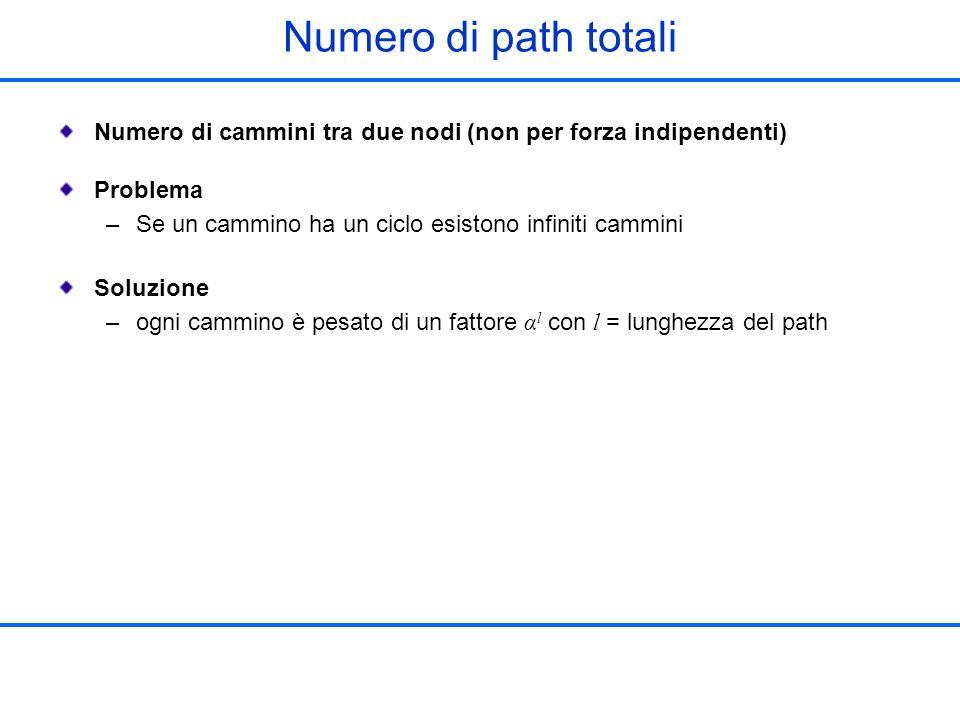 Numero di path totali Numero di cammini tra due nodi (non per forza indipendenti) Problema. Se un cammino ha un ciclo esistono infiniti cammini.