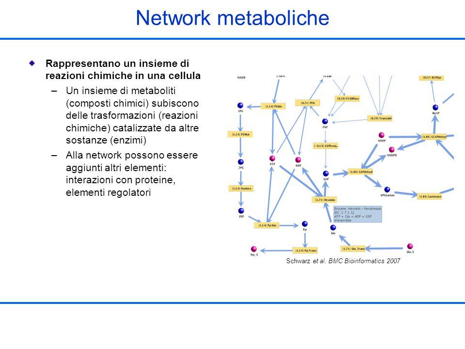 Network metaboliche Rappresentano un insieme di reazioni chimiche in una cellula.