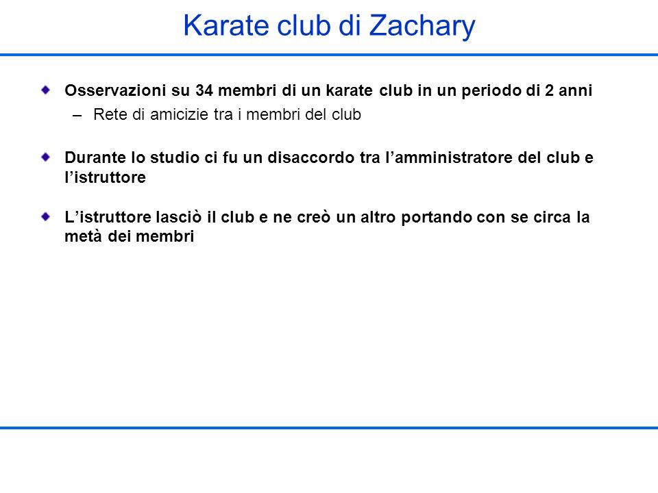 Karate club di Zachary Osservazioni su 34 membri di un karate club in un periodo di 2 anni. Rete di amicizie tra i membri del club.
