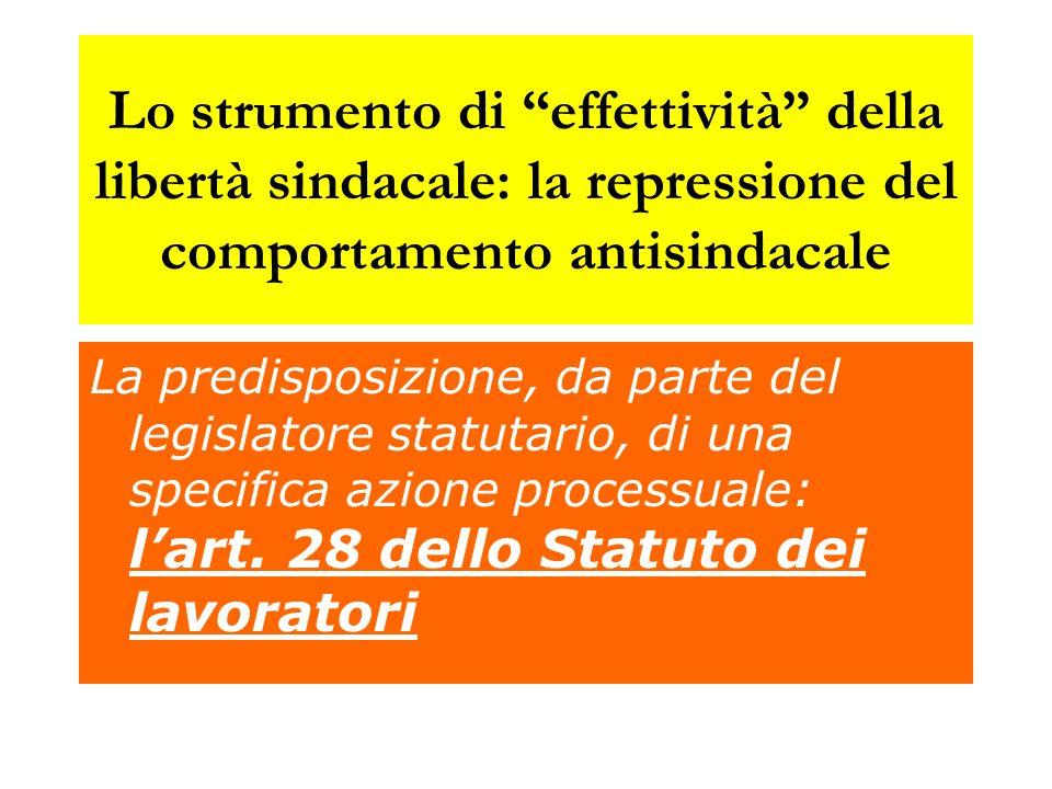 Lo strumento di effettività della libertà sindacale: la repressione del comportamento antisindacale
