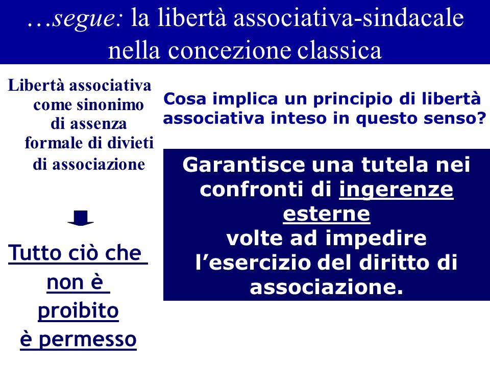 …segue: la libertà associativa-sindacale nella concezione classica