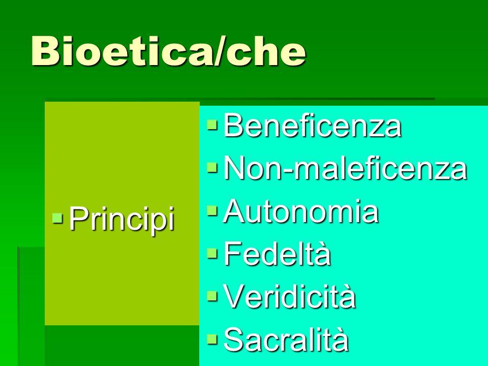 Bioetica/che Beneficenza Non-maleficenza Principi Autonomia Fedeltà