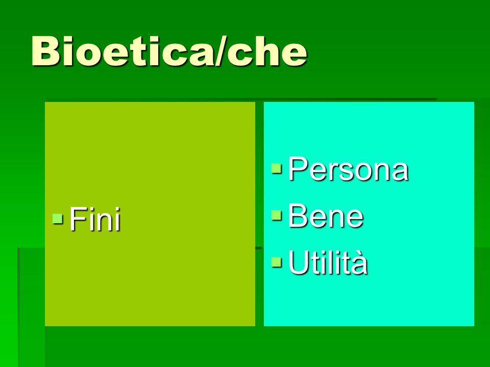 Bioetica/che Fini Persona Bene Utilità