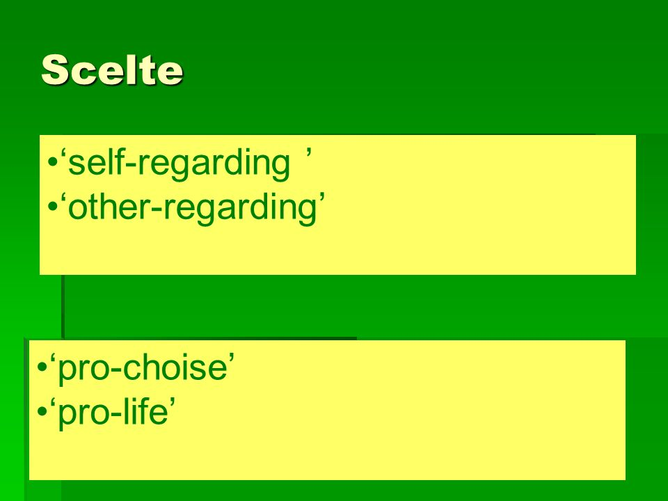 Scelte 'self-regarding ' 'other-regarding' 'pro-choise' 'pro-life'