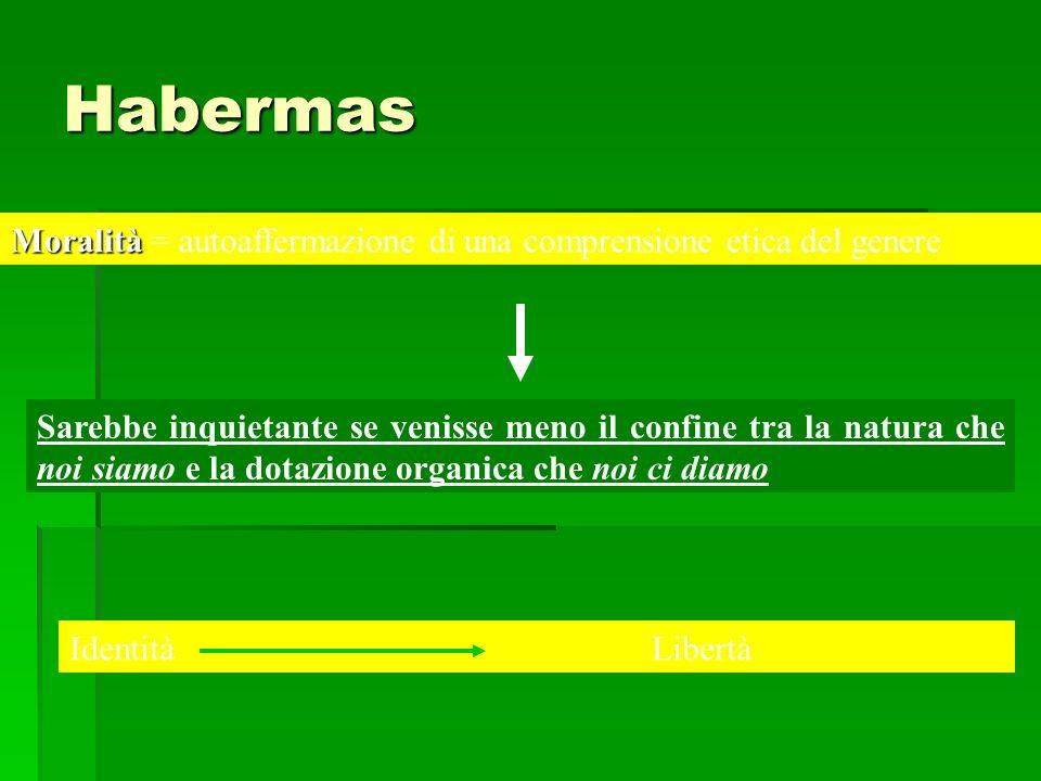 Habermas Moralità = autoaffermazione di una comprensione etica del genere.