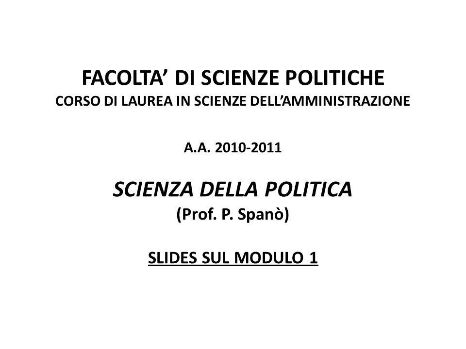 FACOLTA' DI SCIENZE POLITICHE CORSO DI LAUREA IN SCIENZE DELL'AMMINISTRAZIONE A.A.