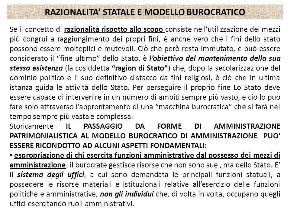 RAZIONALITA' STATALE E MODELLO BUROCRATICO