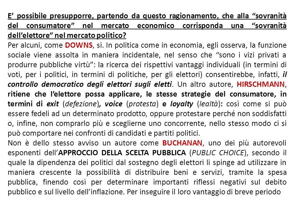 E' possibile presupporre, partendo da questo ragionamento, che alla sovranità del consumatore nel mercato economico corrisponda una sovranità dell'elettore nel mercato politico
