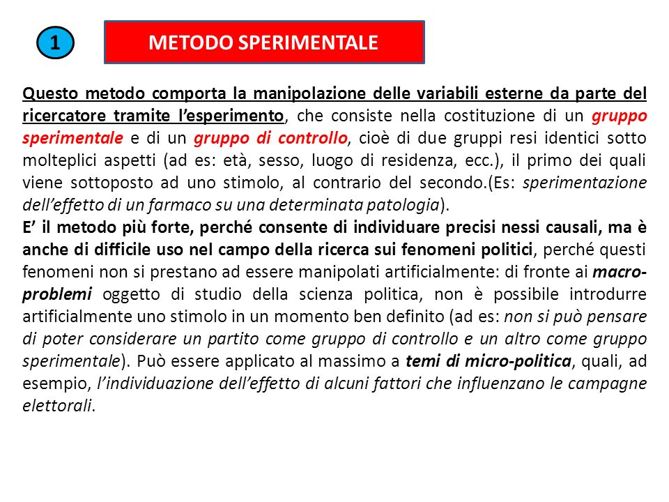 METODO SPERIMENTALE 1.