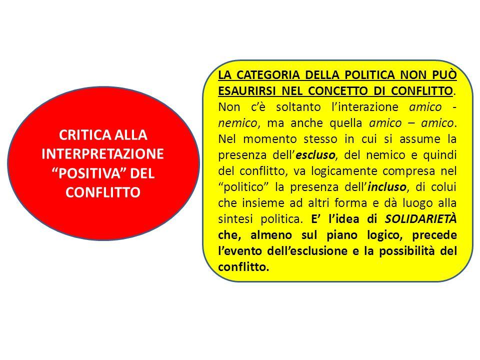 CRITICA ALLA INTERPRETAZIONE POSITIVA DEL CONFLITTO
